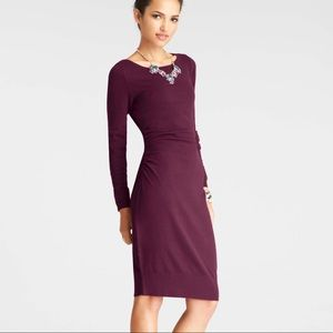 ANN TAYLOR Petite Ruched Purple Sweater Dress